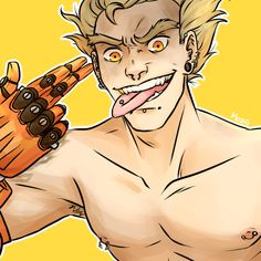 """Mediocre, """"Someone told me I should draw Junkrat with all my piercings.""""<<<Same junkrat same Overwatch Pin, Overwatch Memes, Junkrat Fanart, Jamison Fawkes, Junkrat And Roadhog, Overwatch Drawings, Soldier 76, My Guy, Anime Guys"""