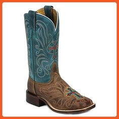 Tony Lama Women's San Saba Vintage Turquoise Cross Applique Cowgirl Boot Teal 6 M US - Boots for women (*Amazon Partner-Link)