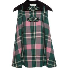Philosophy di Lorenzo Serafini     Contrasting Collar Plaid Cape (21.236.045 IDR) ❤ liked on Polyvore featuring outerwear, plaid, tartan cape, plaid cape coat, cape coat, plaid cape and green cape