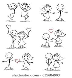 six cute and fun stick figure wedding collection