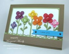 flower button card instead f a card in  a picture frame