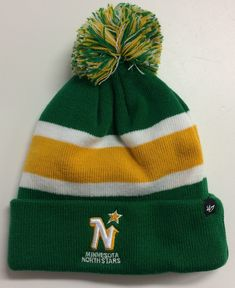 f661af620d3 Minnesota North Stars  47 Brand NHL Breakaway Knit Hat Retro Throwback Beanie  Stocking Cap Cuff   Pom Vintage Hockey