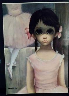 "1963 Walter (Margaret) Keane Print BIG EYES Card ""The reluctant ballerina"" blank"