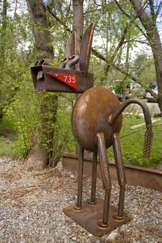 Metal Welding Sculpture: A Donkey Mail Box and Stand!