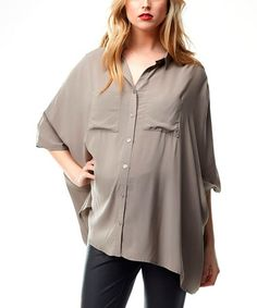 Look at this #zulilyfind! Rabbit Gray Stella Maternity Button-Up #zulilyfinds