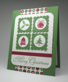 Holiday Greeting Card featuring Stampin' Up!'s Jolly Bingo Bits stamp set.