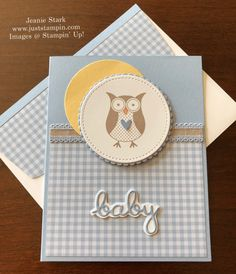 Picks from My Pals Stamping Community! (Mary Fish, Stampin' Pretty The Art of Simple & Pretty Cards) Baby Shower Cards, Baby Cards, Kids Cards, Card Making Inspiration, Making Ideas, Baby Boy Cards Handmade, Handmade Cards, Stampin Pretty, Owl Card