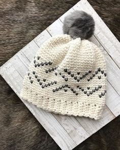 Fair Isle Crochet Pattern / crochet hat pattern / pdf crochet pattern / everest beanie crochet pattern / fur pom pom beanie / knit look crochet / pattern for crochet / crochet pattern for women