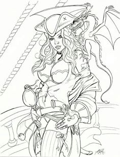 Pirate Coloring Pages for Adults Unique Captain Drake by Docredfieldviantart On Deviantart Pirate Coloring Pages, Adult Coloring Book Pages, Printable Adult Coloring Pages, Fairy Coloring, Coloring Pages To Print, Colouring Pages, Coloring Sheets, Coloring Books, Transférer Des Photos