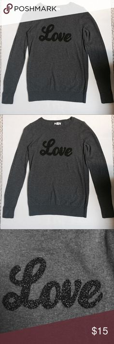 Old Navy Grey sweater. Size XS. 100% cotton Old Navy,Grey Sweater With glittery black  love design in front . Old Navy Sweaters