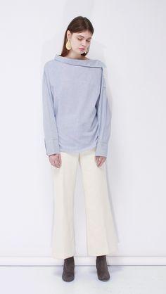 Rama Pajama Shirt | LOÉIL #offshoulder #pajamas #stripeshirt