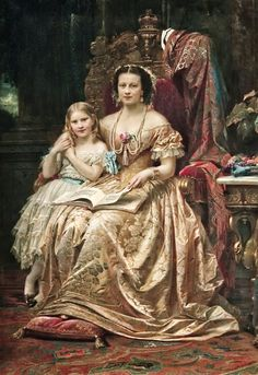 HM the Queen of Hanover Marie of Saxe-Altenburg Duchess of Cumberland and Brunswick with her Daughter the Princess Marie of Hanover, ca. 1866 | In the Swan's Shadow
