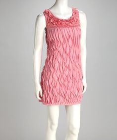 Take a look at this Pink Rosette Ruffle Shift Dress by Grifflin Paris on #zulily today!