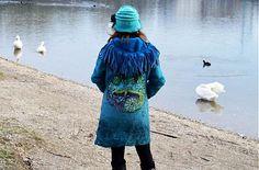 Obojstranný plstený kabát v Etno štýle