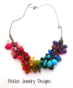 Single chain chunky rainbow necklace. McKee Jewelry Designs
