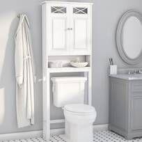 Latitude Run® Jordane 34'' W x 38.5'' H x 7'' D Over-The-Toilet Storage & Reviews | Wayfair Wall Mounted Bathroom Cabinets, Wood Bathroom, Bathroom Shelves, Bathroom Storage, Small Bathroom, Master Bathroom, Bathrooms, Bathroom Ideas, Hanging Cabinet