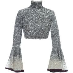 See this and similar Hussein Bazaza tops - This Hussein Bazaza Silk Sequin Cropped Top features a fully embellished design with statement sleeves and a high tur. Indian Fashion Dresses, Indian Designer Outfits, Designer Dresses, Fashion Outfits, Embellished Crop Top, Sequin Crop Top, Sequin Shirt, Cropped White Shirt, Cropped Top