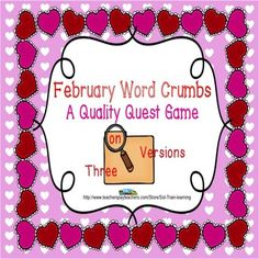 #February Word Crumbs by #SOL Train Learning is a great new brain game for your kiddos to practice looking for word chunks in February vocabulary words. This game can be played alone, with a partner, or as a class. The kids have to look through all the words to find the answers for each card. These words are from our February Calendar. $ Includes 18 Cards Teacher Guide Directions to all the Quality Quest games Recording Sheet Answer Sheet Word List #vocabulary#ELA