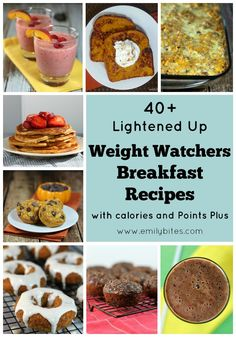 Start your day off right with one of these healthy Weight Watchers friendly breakfast recipes! Nutrition information and Points Plus info listed for each recipe! www.emilybites.com #healthy #recipes