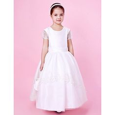 Ball Gown Scoop Floor-length Taffeta And Tulle Flower Girl Dress With Bow  – USD $ 99.99