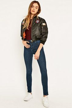 Urban Renewal Vintage Surplus Patch MA1 Black Bomber Jacket - Urban Outfitters