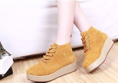 Womens #yellow leather lace up #platform shoe cow suede leather upper, round toe design.
