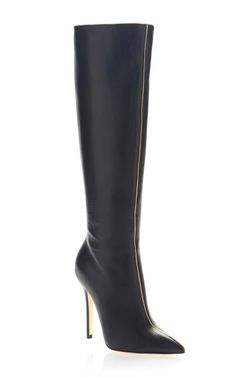 Versace Pre-Fall 2013 Trunkshow Metallic Piped Boot on Moda Operandi Ankle Boots, Knee High Boots, Heeled Boots, Bootie Boots, Botas Sexy, Hot Shoes, Shoes Heels, Pumps, Sexy Boots