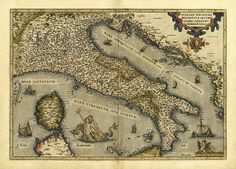 Ortelius's map of Italy. This map is from the 1570 first edition of Theatrum orbis terrarum ('Theatre of the World'). Drawn by the Flemish mapmaker Abraham Ortelius (1527-1598), and published by Gilles Coppens de Diest in Antwerp, this collection of 53 maps is considered to be the first true modern atlas.