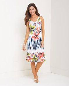 Pretty floral, tropical dress. Again, I'd add a little sweater.