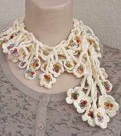 NEW SPRING FASHION Long  beige crochet beaded by HUCHIDESIGNS, $30.00