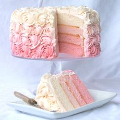 DIY Ombre Cake - looks easy enough, maybe. DIY Ombre Cake - looks easy enough, maybe. DIY Ombre Cake - looks easy enough, maybe. Pretty Cakes, Beautiful Cakes, Amazing Cakes, Rose Ombre Cake, Pink Rosette Cake, Cake With Rosettes, Rose Swirl Cake, Rose Icing, Pink Icing