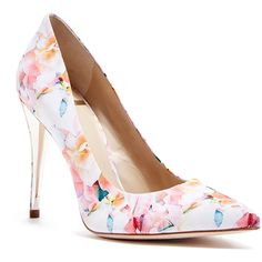 GUESS by Marciano Amy Floral-Print Pump ($178) ❤ liked on Polyvore featuring shoes, pumps, evening shoes, floral pattern shoes, holiday shoes, floral printed shoes and flower print pumps