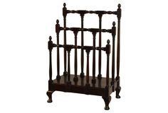 Vintage Wood Library Newspaper Rack Holder Dowels