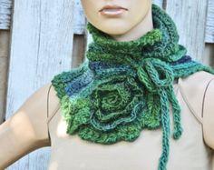 Crochet Scarf Unique Capelet shadows brown green von Degra2