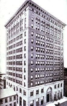 The Carnegie Building, aka the Carnegie Steel Building, was constructed between 1893 and 1895 and was the city's tallest building at the time and the first steel-framed skyscraper in Pittsburgh. The building served as the world headquarters of Carnegie Steel Company, later to become U.S. Steel. It was located at 428-438 Fifth Avenue and was torn down in 1952 for an expansion of Kaufmann's flagship store (now Macy's).
