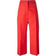 Marni cropped trousers (1.465.965 COP) ❤ liked on Polyvore featuring pants, capris, bottoms, jeans/pants, pants/jeans, red, high-waisted trousers, wide leg cropped trousers, wide leg pants and high rise pants