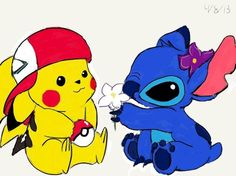 Pikachu and Stitch ^.^ ♡ I give good credit to whoever made this