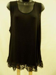 Plus Size 2X Top Shirt  LACE BOTTOM Blouse SOFT STRETCH Tank Sexy Trendy  NWT…