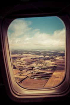 Window view from an airplane of fields, sky and clouds. Airplane Window, Airplane View, Travel Pictures, Cool Pictures, Window View, Window Seats, Side Tat, Plane Photography, How To Make Greens