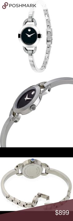 """Brand New MOVADO WOMEN'S WATCH (also in 18kt GOLD) Beautiful Brand New MOVADO Women's watch, tags still ON! Elegant Bangle Bracelet Design with 16 small Diamonds!! MOVADO is a LUXURY SWISS Watch that LAST and has Quarts face that is scratch-resistant! This is the """"Classic"""" Black face with Crystal, the bracelet style is Stainless-Steel (silver). Comes with Black MOVADO GIFT BOX Retail is $1,100.00‼️ ALSO AVAILABLE IN 18Kt GOLD! SAME EXACT DESIGN. Movado Accessories Watches"""