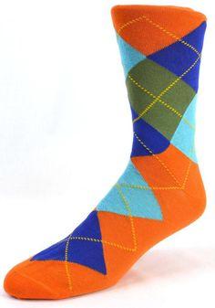 Lorenzo Uomo Orange Argyle sock