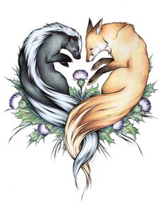 A badger and a fox - great idea for a tattoo!