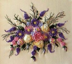 Wonderful Ribbon Embroidery Flowers by Hand Ideas. Enchanting Ribbon Embroidery Flowers by Hand Ideas. Brazilian Embroidery Stitches, Types Of Embroidery, Rose Embroidery, Learn Embroidery, Silk Ribbon Embroidery, Embroidery Thread, Cross Stitch Embroidery, Embroidery Alphabet, Embroidery Shop