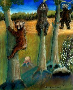 Björnar klättrar i träd, pastell på papper. Bears climbing trees, pastel on paper.