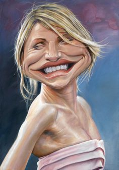 Cameron Diaz by Derren Brown Cameron Diaz, Funny Caricatures, Celebrity Caricatures, Cartoon Faces, Funny Faces, Hollywood, Derren Brown, Caricature Drawing, Funny Drawings