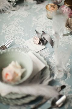 Love the lace overlay, and the table setting.
