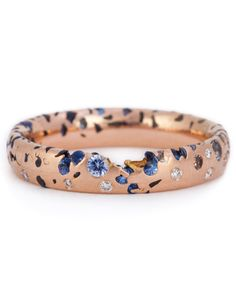 Polly Wales Narrow Blue Ombre Confetti Ring with Diamonds 2.2ct sapphires cast into a 4mm band of 18ct rose gold, with 0.2ct brilliant cut diamonds set into the surface, $5,050, PollyWales.com. Gold Jewelry, Jewelry Box, Jewelry Accessories, Jewelry Design, Unique Jewelry, Designer Jewellery, Luxury Jewelry, Designer Earrings, Jewelry Making