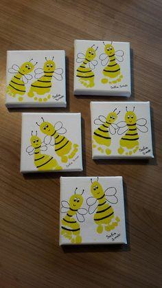 Næste niece er foreviget som bier. Striberne er lavet med Posca tuscher