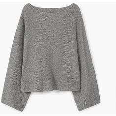 MANGO Oversize Sweater (£39) ❤ liked on Polyvore featuring tops, sweaters, oversized tops, mango sweater, oversized off shoulder sweater, off-the-shoulder sweaters and mango tops