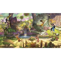 Disney Fairies Pixie Hollow Mural (6'x10.5') - Overstock™ Shopping - Big Discounts on Roommates Wall Decor